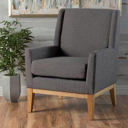 Archibald Mid Century Modern Fabric Accent Chair (Grey)