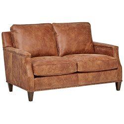 Stone & Beam Marin Leather Studded Loveseat, 60″ W, Saddle Brown
