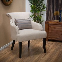 Great Deal Furniture Baldwin | Fabric Arm Chair with Studded Accents | in Light Beige
