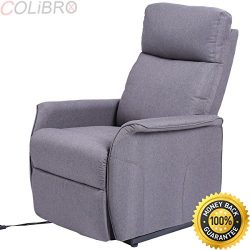 COLIBROX–Electric Power Lift Chair Recliner Sofa Fabric Padded Seat Living Room w/Remote.  ...