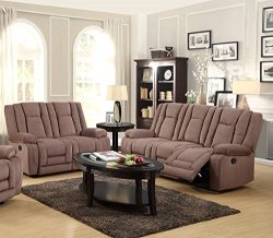 Kings Brand Furniture 2-Piece Mocha Microfiber Reclining Sofa & Loveseat Living Room Set