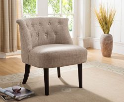 Kings Brand Furniture Accent Chair with Button Tufts, Light Brown/Dark Cherry