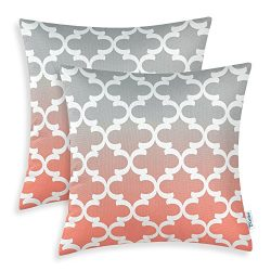 Pack of 2 CaliTime Canvas Throw Pillow Covers Cases for Couch Sofa Home Decor, Modern Gradient Q ...