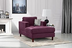 Mid Century Modern Velvet Fabric Living Room Chaise Lounge (Purple)