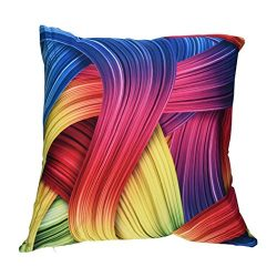 Leyorie Multicolor 3D Print Pillow Cases Polyester Sofa Car Cushion Cover Home Decor (D)