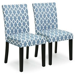 Best Choice Products Set of 2 Mid-Century Fabric Parson Dining Chairs (Blue)
