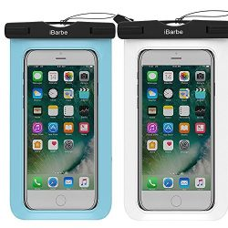 iBarbe 2 Pack Waterproof Case, Universal Cell Phone Plasic TPU Dry Bag for iPhone 7 7 plus 6S 6/ ...
