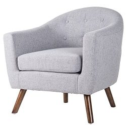 Merax Stylish Upholstered Button Tufted Fabric Leisure Living Room Accent Chair with Armrest and ...