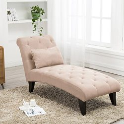 Tongli Chaise Lounge Button Tufted Sofa Chair Couch for Bedroom or Living Room Tan