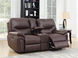 Bradford Living KPI007002 Brookfield Reclining Console, Loveseat, Dark Chocolate