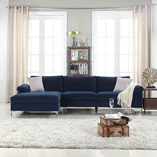 Divano Roma Furniture Modern Large Velvet Fabric Sectional