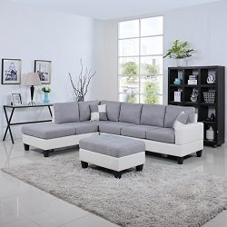 Classic Two Tone Large Linen Fabric and Bonded Leather Living Room Sectional Sofa (White / Light ...