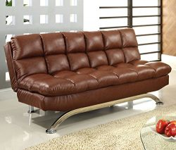 Furniture of America Adelle Convertible Sofa/Futon, Reddish Brown