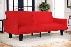 DHP Metro Modern Splitback Futon Couch with Storage Pockets, Microfiber Upholstery, Multifunctio ...