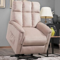 Harper&Bright Designs Power Lift Chair Soft Fabric Recliner Lounge Living Room Sofa Chair wi ...