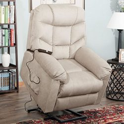 Harper&Bright Designs Power Lift Recliner Chair Soft Fabric Living Room Sofa Chair (Beige Fa ...