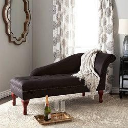 Storage Chaise Lounge – Contemporary Lift Up Tufted Seat Chair – Microfiber Upholste ...