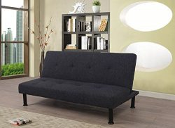 Beverly Fine Furniture F2108 Futon Sofa Bed Convertible, Chacoal Grey
