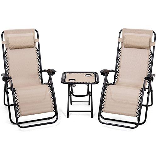 Giantex 3 Pcs Zero Gravity Chair Patio Chaise Lounge