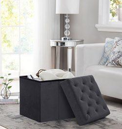 Decor Venue Foldable Velvet Tufted Storage Ottoman Square Cube Foot Rest Stool/Seat – 17&# ...