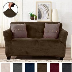 Modern Velvet Plush Strapless Slipcover. Form Fit Stretch, Stylish Furniture Cover / Protector.  ...