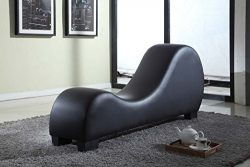 Container Furniture Direct Stretch Chaise Ultimate Faux Leather Curved Yoga and Lounge Chair, Black
