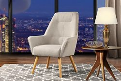 Accent Chair for Living Room, Upholstered Linen Arm Chairs with Natural Wooden Legs (Beige)
