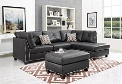 Legend 2 seat Faux Leather sofa+ Right Facing Chaise + Ottoman Black