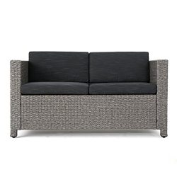 Lorelei Outdoor Wicker Loveseat with Cushions, Grey and Mixed Black