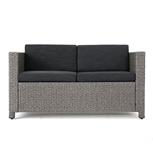 Lorelei Outdoor Wicker Loveseat With Cushions Grey And