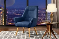 Accent Chair for Living Room, Upholstered Linen Arm Chairs with Natural Wooden Legs (Dark Blue)