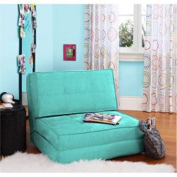 Flip Chair Convertible Sleeper Dorm Bed Couch Lounger Sofa in Mint
