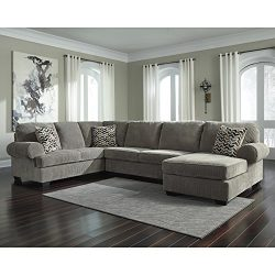Flash Furniture Signature Design by Ashley Jinllingsly 3-Piece LAF Sofa Sectional in Gray Corduroy
