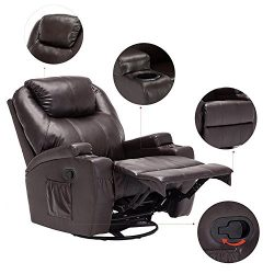 windaze Massage Recliner Chair, 360 Degree Swivel Heated Recliner Bonded Leather Sofa Chair with ...
