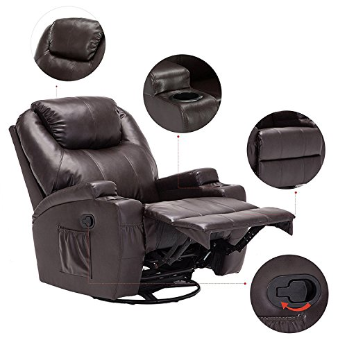 Windaze Massage Recliner Chair, 360 Degree Swivel Heated Recliner Bonded  Leather Sofa Chair With .