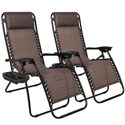 Best Choice Products Set of 2 Adjustable Zero Gravity Lounge Chair Recliners for Patio, Pool w/C ...