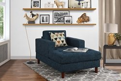 Mid Century Modern Linen Fabric Living Room Chaise Lounge (Dark Blue)