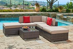 Suncrown Outdoor Furniture Sectional Sofa Set (6-Piece Set) All-Weather Brown Wicker with Brown  ...