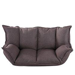 QVB Adjustable Lazy Sofa Folding Futon Counch for Studio Room, Brown Color