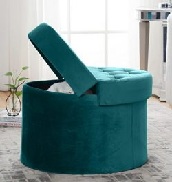 Decor Venue Foldable Velvet Tufted Large Round Storage Ottoman Foot Rest Stool/Seat with Removab ...