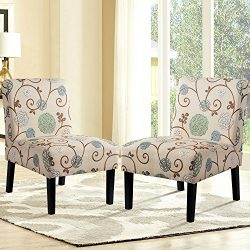 Harper&Bright Designs Upholstered Accent Chair Armless Living Room Chair Set of 2 (Beige& ...