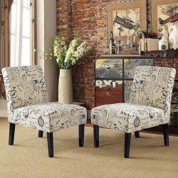 Harper&Bright Designs Upholstered Accent Chair Armless Living Room Chair Set of 2 (Beige/Script)