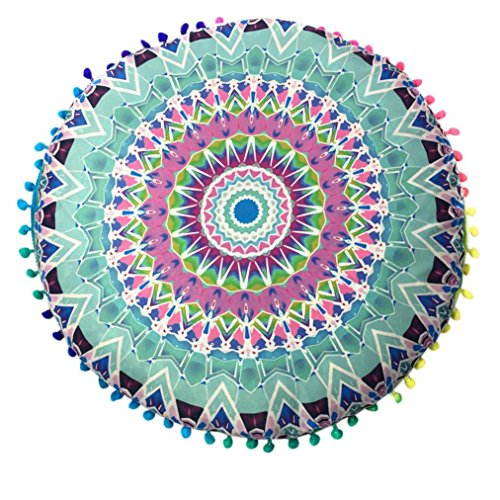 TOOPOOT Mandala Print Floor Round Bohemian Cushion Throw Pillow Case Cover (green)