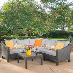 Caspian 6 Piece Outdoor Wicker Sectional Sofa Set with Water Resistant Cushions