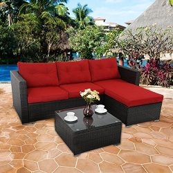 PHI VILLA 3-Piece Outdoor Rattan Sectional Sofa- Patio Wicker Furniture Set, Red