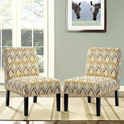 Harper&Bright Designs Upholstered Accent Chair Armless Living Room Chair Set of 2 (Beige/Dia ...