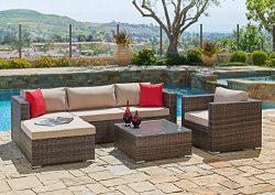 Suncrown Outdoor Furniture Sectional Sofa & Chair (6-Piece Set) All-Weather Brown Checkered  ...