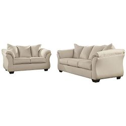 Flash Furniture Signature Design by Ashley Darcy Living Room Set in Stone Microfiber