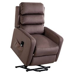 BONZY Lift Recliner Chair Power Lift Chair with 3D Overstuffed Back Rest-Chocholate