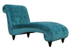 Abbyson Elizabeth Velvet Chaise, Teal